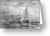 Galleons Greeting Cards - U.S. Naval Fleet During The Civil War Greeting Card by War Is Hell Store