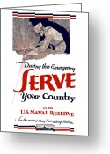 Warishellstore Greeting Cards - US Naval Reserve Serve Your Country Greeting Card by War Is Hell Store