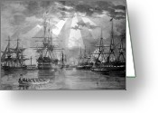 Galleons Greeting Cards - U.S. Naval Ships at The Brooklyn Navy Yard Greeting Card by War Is Hell Store