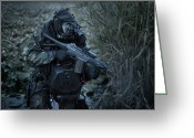 Special Weapons Greeting Cards - U.s. Navy Seal Equpped With Night Greeting Card by Tom Weber