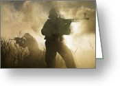 Special Weapons Greeting Cards - U.s. Navy Seals During A Combat Scene Greeting Card by Tom Weber