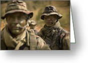Transceiver Greeting Cards - U.s. Navy Seals During Combat Greeting Card by Tom Weber