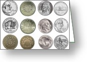 Head Piece Greeting Cards - US Nickels Greeting Card by Paul Ward