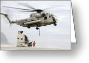 Misfortune Greeting Cards - U.s. Sailors Assist A Ch-53d Sea Greeting Card by Stocktrek Images