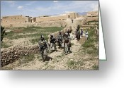 Villagers Greeting Cards - U.s. Soldiers Conduct A Dismounted Greeting Card by Stocktrek Images