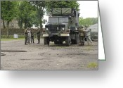 Military Vehicle Greeting Cards - U.s. Soldiers Teach The Polish Military Greeting Card by Stocktrek Images