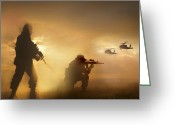 Battleground Greeting Cards - U.s. Special Forces Provide Security Greeting Card by Tom Weber