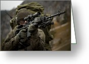 Gun Barrel Greeting Cards - U.s. Special Forces Soldier Armed Greeting Card by Tom Weber