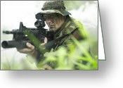 Special Weapons Greeting Cards - U.s. Special Forces Soldier Patrols Greeting Card by Tom Weber