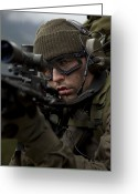Transceiver Greeting Cards - U.s. Special Forces Soldier Stays Alert Greeting Card by Tom Weber