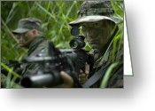 Special Weapons Greeting Cards - U.s. Special Forces Soldiers Patrol Greeting Card by Tom Weber