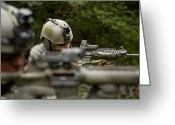 Special Weapons Greeting Cards - U.s. Special Forces Soldiers Provide Greeting Card by Tom Weber