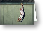 Baseball Cap Greeting Cards - Usa, California, San Bernardino, Baseball Player Making Leaping Catch At Wall Greeting Card by Donald Miralle