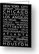 City Map Greeting Cards - USA Cities Bus Roll Greeting Card by Michael Tompsett