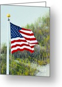 United States Flag Greeting Cards - Usa Flag Greeting Card by Gerlinde Keating - Keating Associates Inc