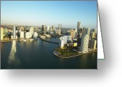 Aerial View Greeting Cards - Usa, Florida, Miami, Downtown, Aerial View Greeting Card by George Doyle