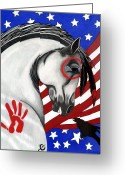 4th July Drawings Greeting Cards - USA Horse Greeting Card by Wildwood  Artistry