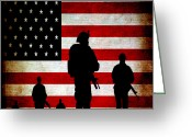 Stripes Greeting Cards - USA Military Greeting Card by Angelina Vick