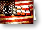 Flag Day Greeting Cards - USA Old Glory Flag Greeting Card by Phill Petrovic