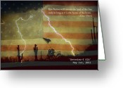 Operation Desert Storm Greeting Cards - USA Patriotic Operation Geronimo-E KIA Greeting Card by James Bo Insogna