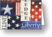 Stripes Greeting Cards - USA Pride 1 Greeting Card by Debbie DeWitt