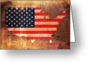 Star Mixed Media Greeting Cards - USA Star and Stripes Map Greeting Card by Michael Tompsett
