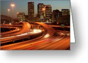 Long Street Photo Greeting Cards - Usa, Texas, Houston City Skyline And Motorway, Dusk (long Exposure) Greeting Card by George Doyle
