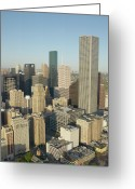 Aerial View Greeting Cards - Usa, Texas, Houston, Downtown, Aerial View Greeting Card by George Doyle