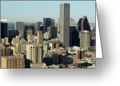 Aerial View Greeting Cards - Usa, Texas, Houston, Dwontown, Aerial View Greeting Card by George Doyle