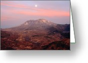 Volcanic Greeting Cards - Usa, Washington, Moonrise Over Mount St Helens At Sunset Greeting Card by Chuck Pefley