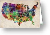 Urban Watercolour Greeting Cards - USA Watercolor Map Greeting Card by Michael Tompsett