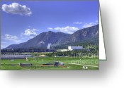 Us Air Force Greeting Cards - USAF Academy Practice Fields Greeting Card by David Bearden