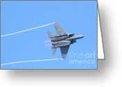 Strike Greeting Cards - USAF F-15 Strike Eagle . 7D7864 Greeting Card by Wingsdomain Art and Photography