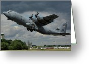 Airplane Greeting Cards - USAF Lockheed-Martin C-130J-30 Hercules  Greeting Card by Tim Beach