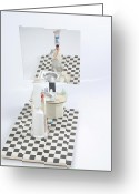 Surrealism Sculpture Greeting Cards - Use Right Arm To Brush Greeting Card by Michael Jude Russo