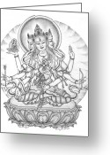 Iconography Drawings Greeting Cards - Ushnisha Vijaya Greeting Card by Carmen Mensink