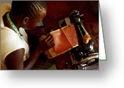 Uganda Greeting Cards - Using A Sewing Machine, Uganda Greeting Card by Mauro Fermariello