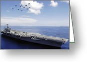 Large Group Greeting Cards - Uss Abraham Lincoln And Aircraft Greeting Card by Stocktrek Images
