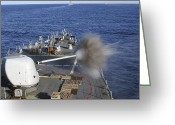 Barry Greeting Cards - Uss Barry Fires Her Forward Mounted Greeting Card by Stocktrek Images
