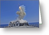 Guided Missile Destroyers Greeting Cards - Uss Barry Launches A Tomahawk Cruise Greeting Card by Stocktrek Images
