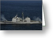 Guided Missile Destroyers Greeting Cards - Uss Bunker Hill Fires Two Mk-45 5 Greeting Card by Stocktrek Images