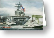 Aircraft Carrier Greeting Cards - Uss Carl Vinson Greeting Card by James Williamson