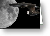 Starships Greeting Cards - USS Enterprise with the Moon and Jupiter Greeting Card by Jason Politte