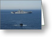 Submarines Greeting Cards - Uss Hampton Transits Alongside Uss Greeting Card by Stocktrek Images