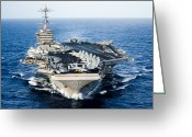 Aircraft Carrier Greeting Cards - Uss John C. Stennis Transits Greeting Card by Stocktrek Images