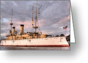 Veterans Day Greeting Cards - USS Olympia Greeting Card by JC Findley