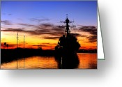 Guided Missile Destroyers Greeting Cards - Uss Spruance Is Pierside At Naval Greeting Card by Stocktrek Images