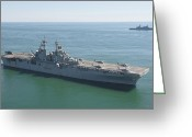 Warship Greeting Cards - Uss Wasp And Uss San Antonio Transit Greeting Card by Stocktrek Images