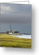 Boats Greeting Cards - USS Yorktown  Greeting Card by Drew Castelhano