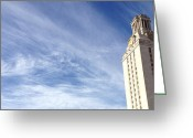 Longhorns Greeting Cards - UT Tower Clouds Greeting Card by Nexus Ninethousand